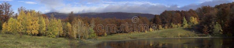 Panorama di autunno in montagne carpatiche fotografia stock libera da diritti