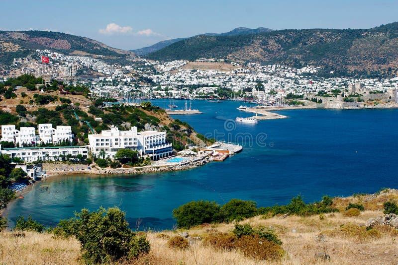 Panorama di Bodrum e del mar Egeo fotografie stock libere da diritti