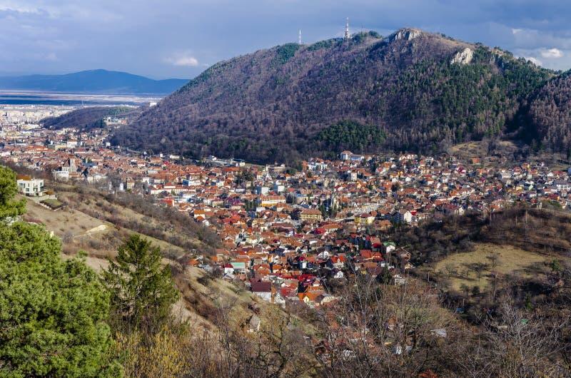 Panorama di Brasov, Romania fotografia stock