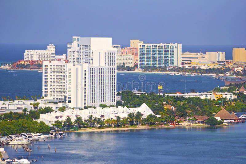 Panorama di Cancun, Cancun, Messico immagini stock