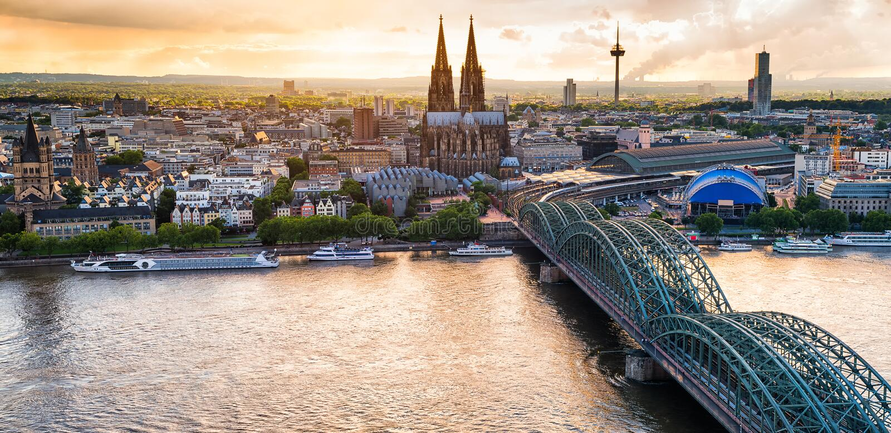 Panorama di Colonia fotografie stock libere da diritti