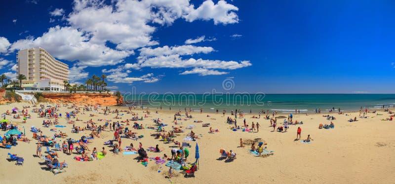 Panorama di estate con la spiaggia ed il mare fotografie stock libere da diritti