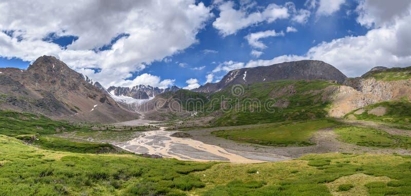 Panorama di estate del fiume del ghiacciaio delle montagne immagini stock libere da diritti