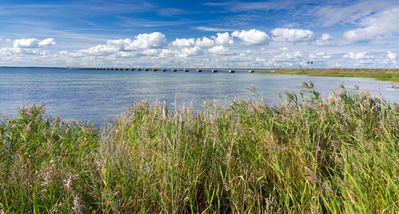 Panorama di estate per il ponte all'isola di Oland fotografia stock libera da diritti