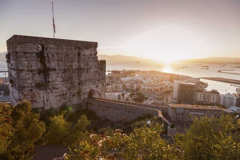 Panorama di Gibilterra al tramonto fotografia stock libera da diritti