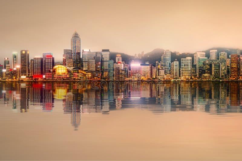 Panorama di Hong Kong e del distretto finanziario fotografia stock libera da diritti