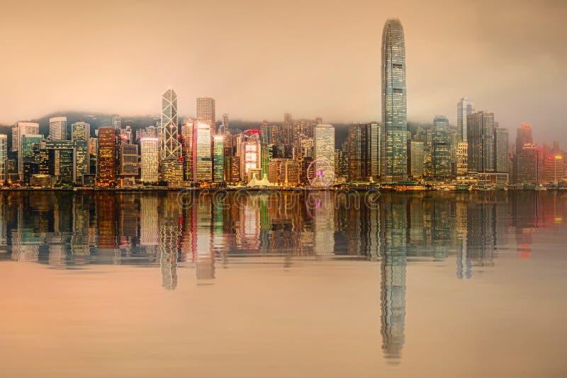Panorama di Hong Kong e del distretto finanziario immagini stock