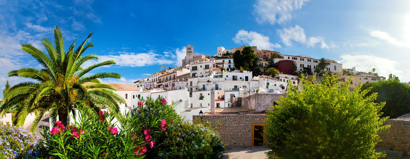 Panorama di Ibiza, Spagna immagine stock libera da diritti