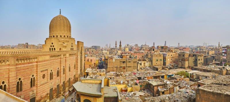 Panorama di Il Cairo da Bab Zuwayla Gate, Egitto fotografia stock libera da diritti