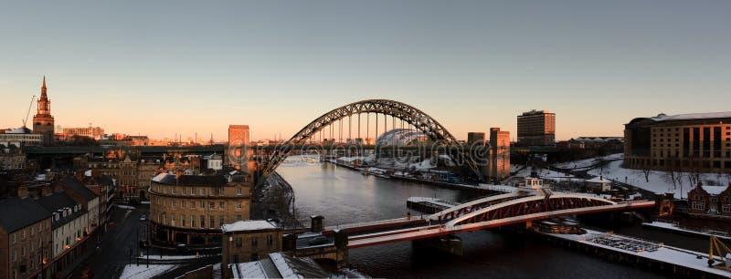 Panorama di inverno di Newcastle Gateshead fotografie stock libere da diritti