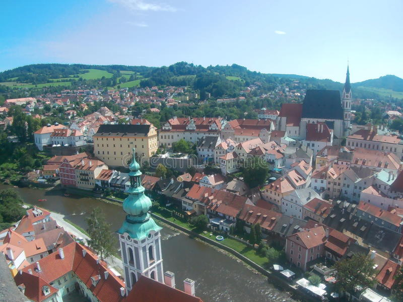 Panorama di Krumlov del ½ di ÄŒeskà fotografie stock libere da diritti