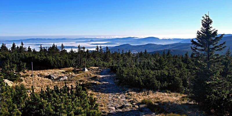 Panorama di mattina di autunno in montagne di Krkonose fotografia stock libera da diritti