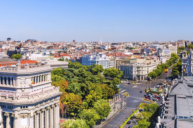 Panorama di mattina di Madrid, Spagna fotografia stock