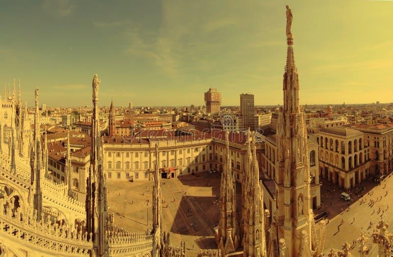 Panorama di Milano, Italia immagini stock libere da diritti