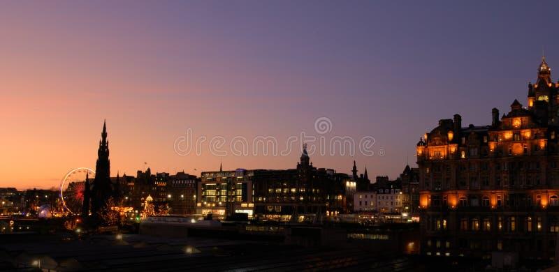 Panorama di natale di Edinburgh fotografia stock libera da diritti