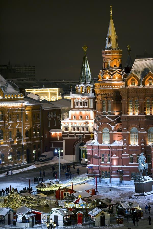 Panorama di notte del quadrato di Manege e del museo storico dello stato fotografie stock