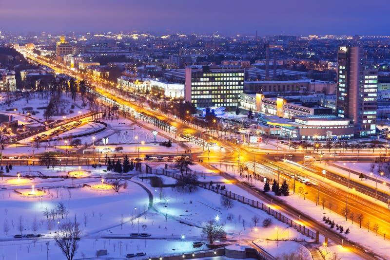 Panorama di notte di Minsk, Belarus fotografia stock libera da diritti
