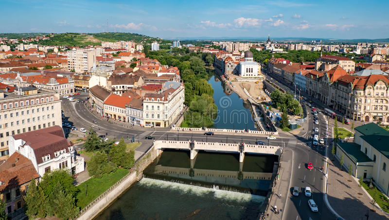 Panorama di Oradea da sopra immagine stock libera da diritti