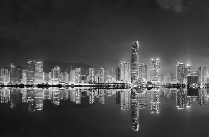 Panorama di orizzonte della città di Hong Kong immagine stock libera da diritti
