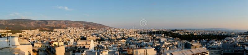 Panorama di paesaggio urbano di Atene, Grecia fotografie stock libere da diritti