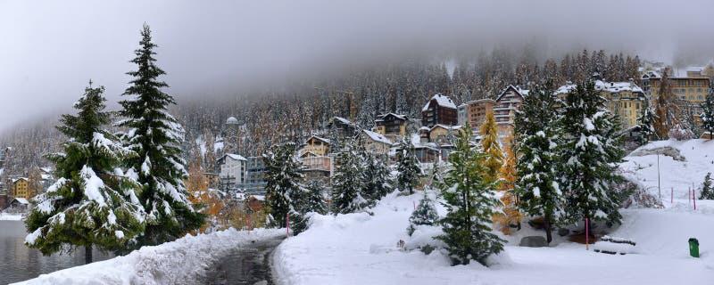 Panorama di Sankt Moritz Saint Moritz, San Maurizio immagine stock libera da diritti