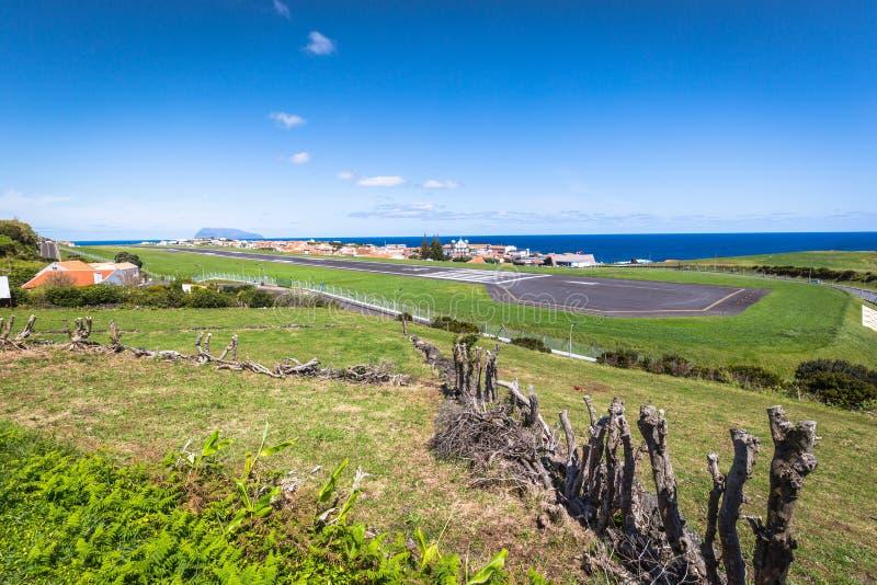Panorama di Santa Cruz sull'isola del Flores Azzorre Portogallo fotografie stock libere da diritti