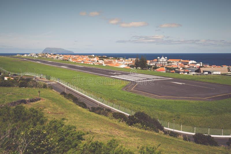 Panorama di Santa Cruz sull'isola del Flores Azzorre Portogallo immagine stock libera da diritti