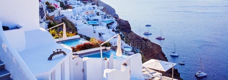 Panorama di Santorini Bello paesaggio di Santorini, Grecia immagini stock libere da diritti