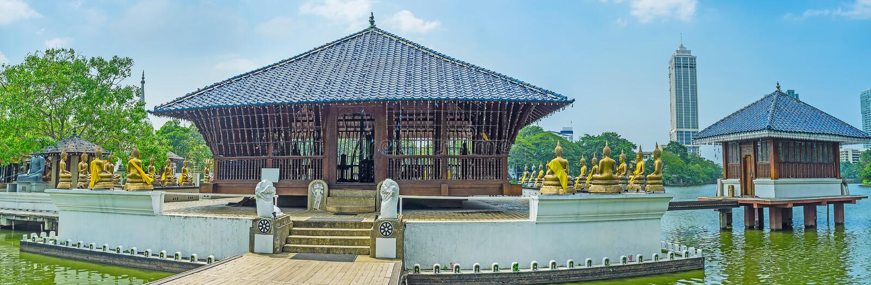 Panorama di Seema Malaka Temple a Colombo fotografie stock
