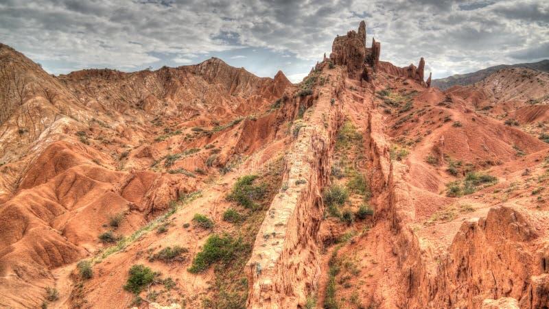 Panorama di Skazka, alias Fairytale canyon, Issyk-Kul, Kirghizistan fotografia stock