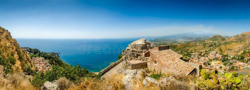 Panorama di Taormina fotografia stock