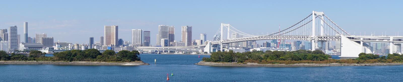 Panorama di Tokyo come visto da Odaiba immagine stock libera da diritti