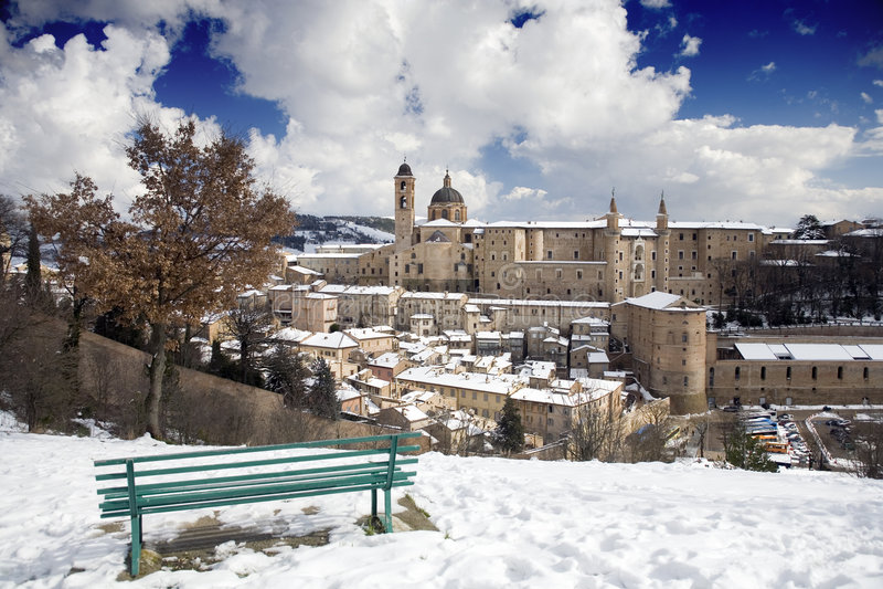 Panorama di Urbino fotografia stock