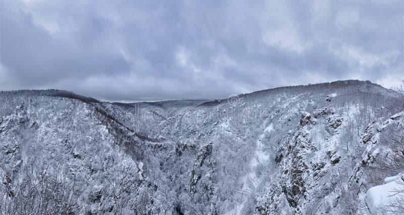 Panorama di vasta valle preannunciata nelle montagne di Harz fotografia stock libera da diritti