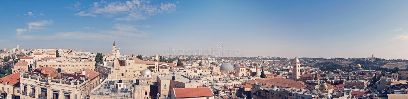 Panorama di vecchia città Gerusalemme, Israele dal lato del sud Vista superiore dei tetti di vecchio distretto storico di fotografia stock