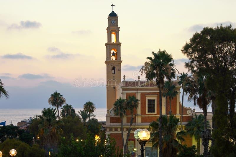 Panorama di vecchia Giaffa al san Peter Church di tramonto che uguaglia luglio immagine stock