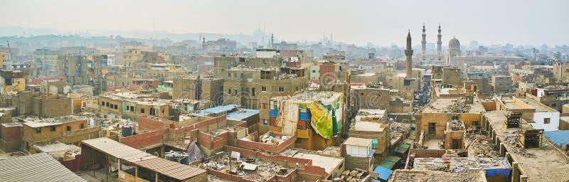 Panorama di vecchio distretto di Il Cairo, Egitto fotografie stock