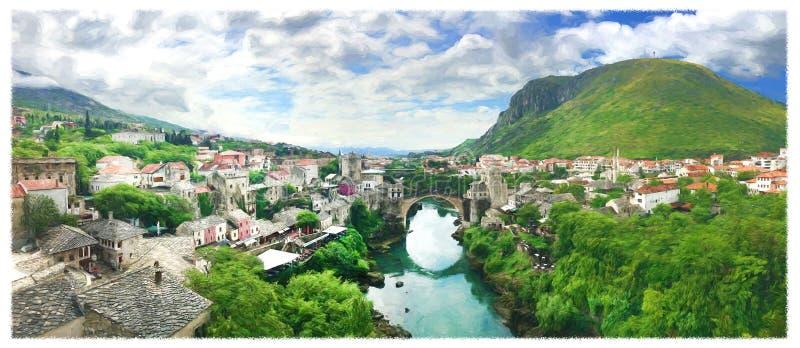 Panorama di vecchio ponte a Mostar in un bello giorno di estate, Bosnia-Erzegovina Illustrazione royalty illustrazione gratis