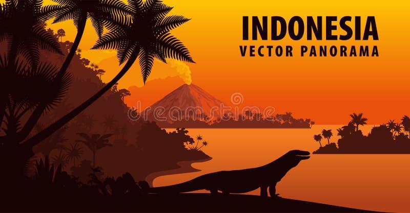 Panorama di vettore dell'Indonesia con il drago di komodo illustrazione vettoriale