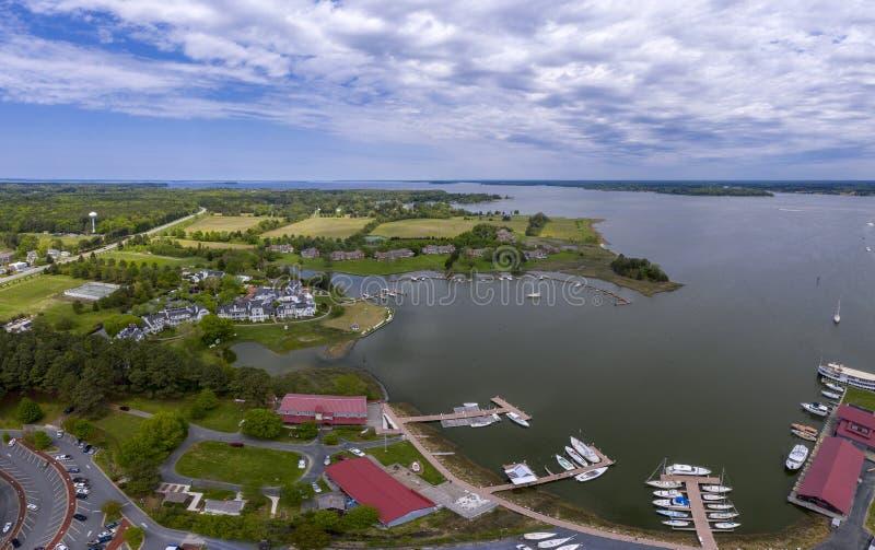 Panorama di vista aerea della baia del chespeake della st Michaels Maryland immagini stock