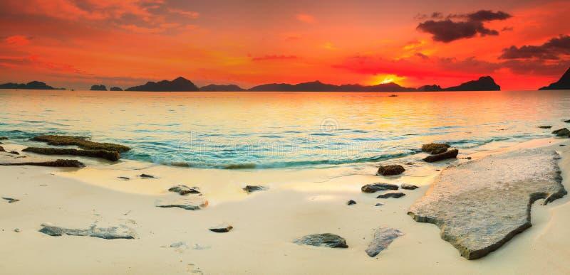 Panorama di vista sul mare fotografie stock