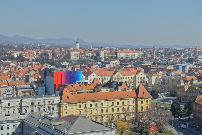Panorama di Zagabria fotografie stock libere da diritti