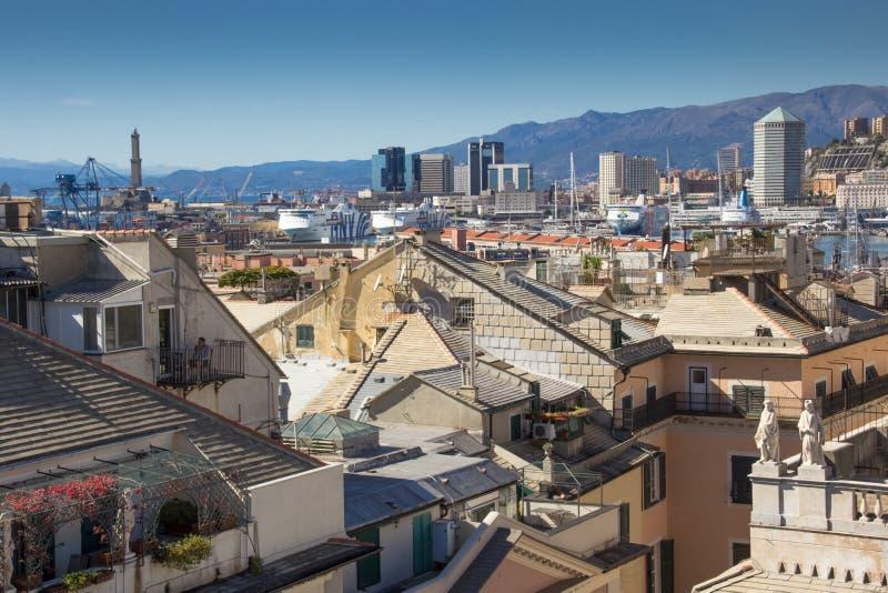 Panorama die Dächer von Genua stockfotos