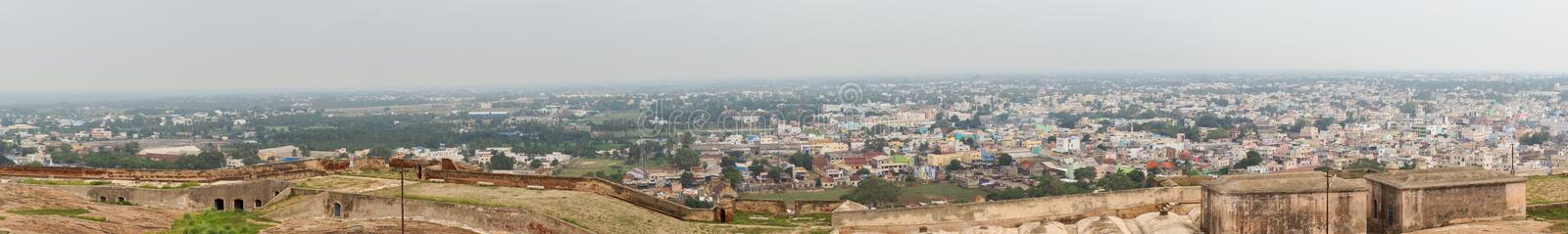 Panorama of Dindigul seen from Rock Fort. Dindigul, India - October 23, 2013: Panoramic shot over the region that surrounds Dindigul Rock Fort. Rural area and stock photos