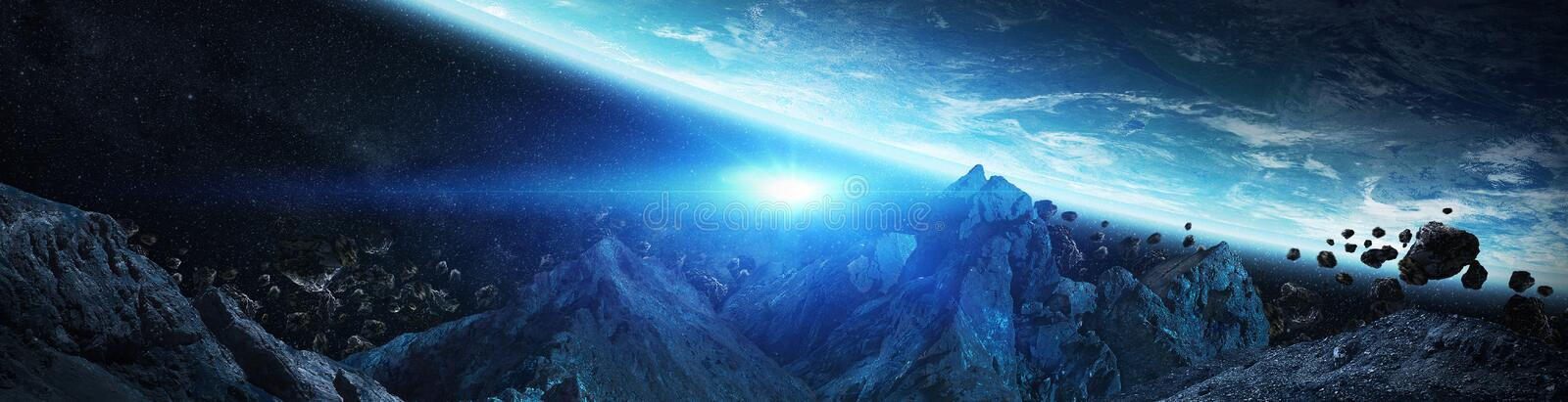 Panorama of distant planet system in space 3D rendering elements of this image furnished by NASA vector illustration