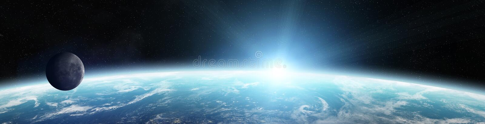 Panorama of distant planet system in space 3D rendering elements stock illustration