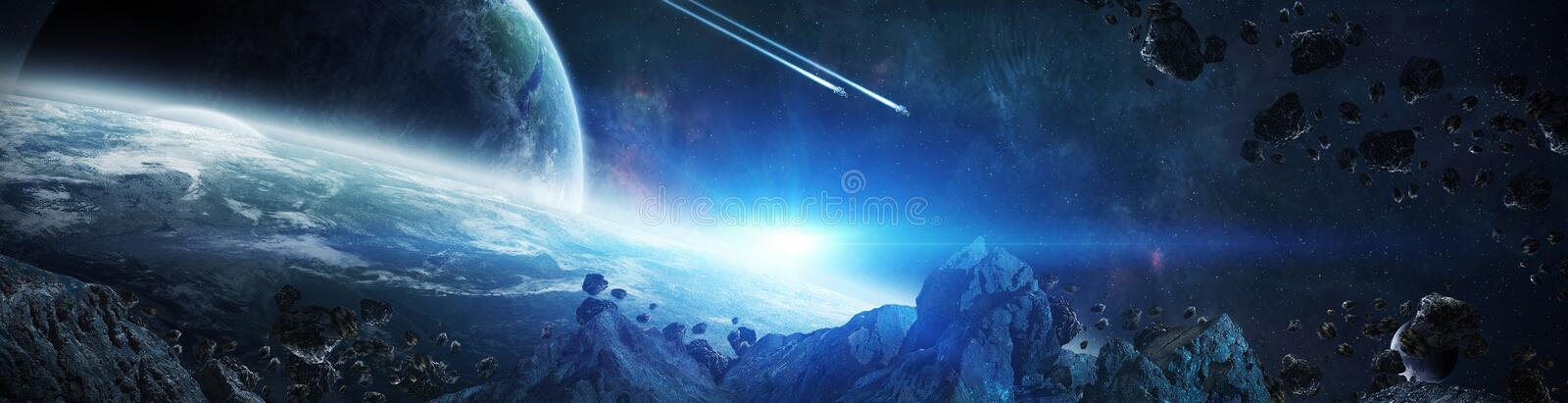 Panorama of distant planet system in space 3D rendering elements royalty free illustration