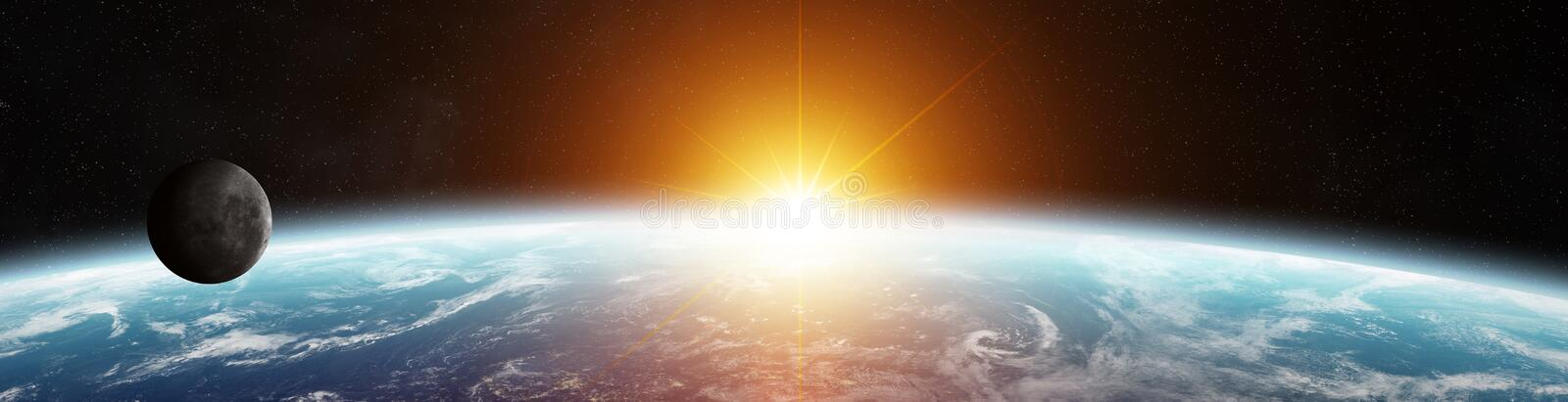 Panorama of distant planet system in space 3D rendering elements vector illustration