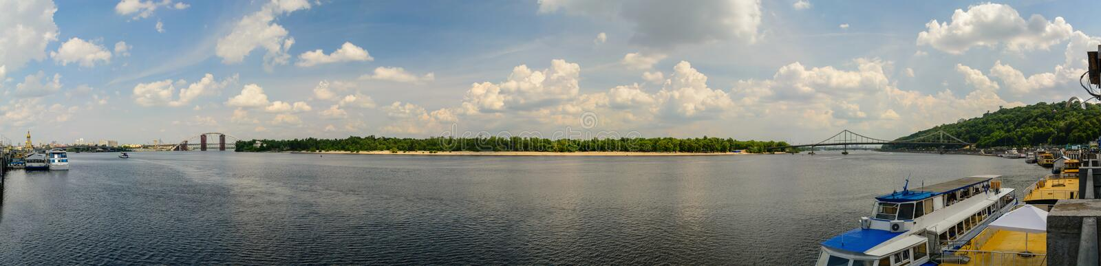 Panorama of the Dnieper River in Kiev in the summer. 53 megapixels stock image