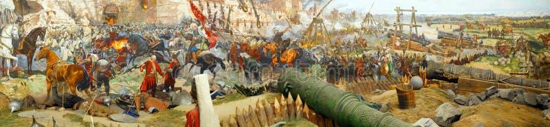 Panorama do assalto final e a queda de Constantinople fotografia de stock royalty free